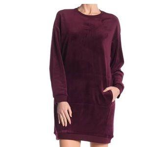 Plum velour dress - short to midi